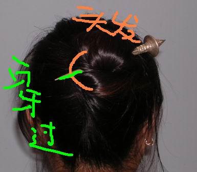 这个步骤和第一种方法的第7步差不多,也是先贴着头发 扎着自己的脑袋
