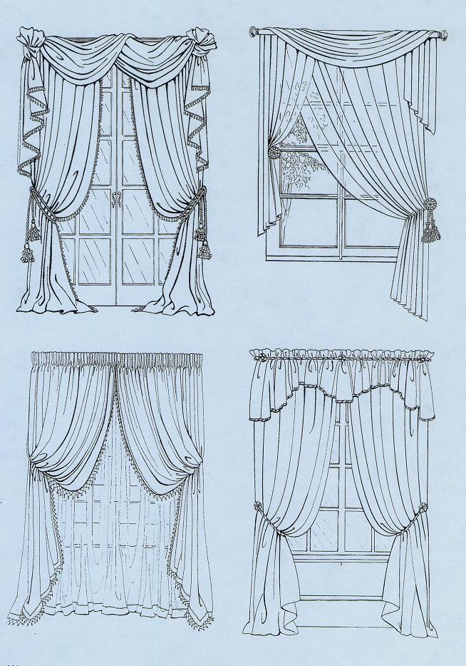 新中式窗帘款式手绘图