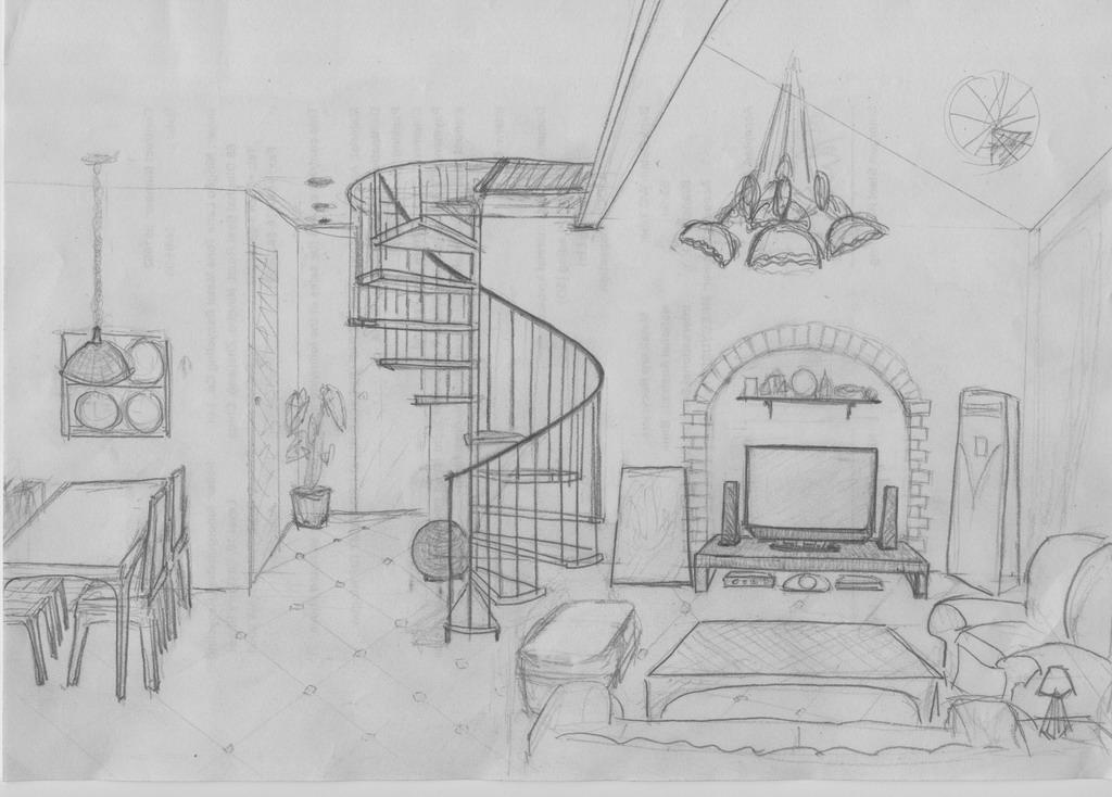 楼梯设计图素描