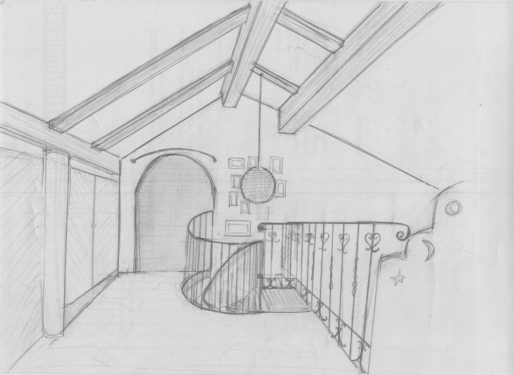 阁楼手绘效果图