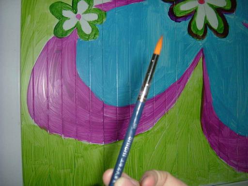 自己在家画壁画——p1画荷花p2画树p3丙烯颜料p4准备