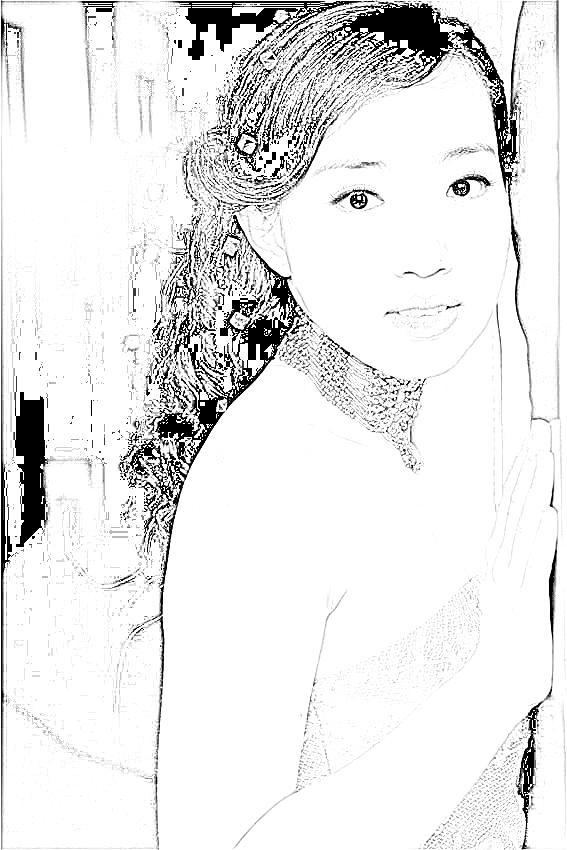 自己的婚纱照片做简单的素描效果(增加写实漫画效果)
