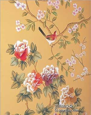 美式花鸟壁纸贴图