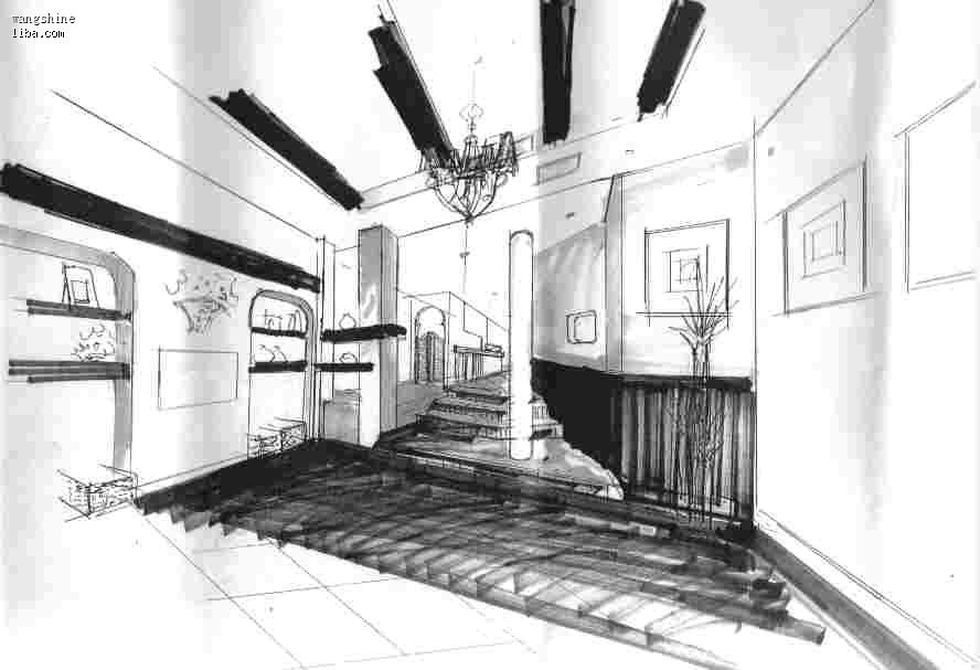 客厅的手绘图