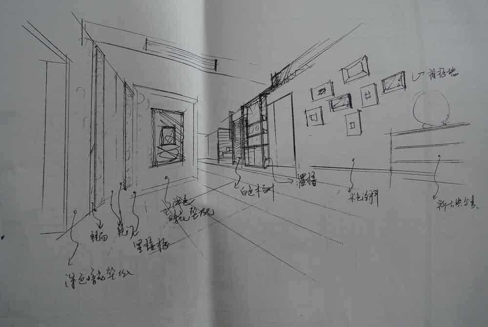别墅餐厅家具手绘图