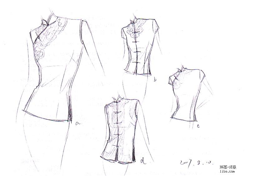 旗袍礼服手绘设计图分享展示图片