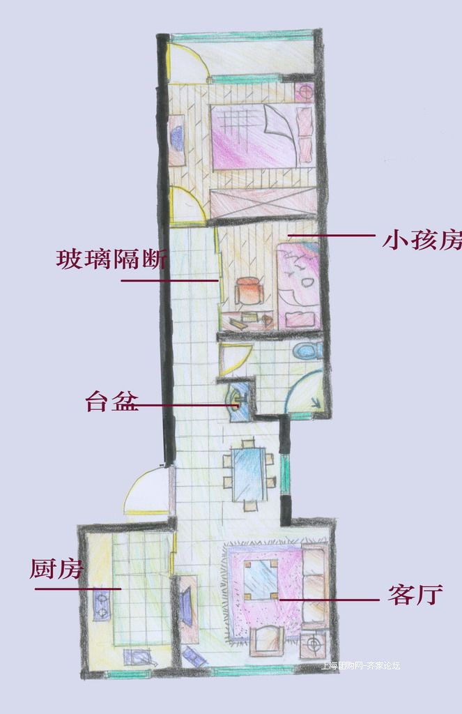房屋二室二厅二卫平面图手绘图