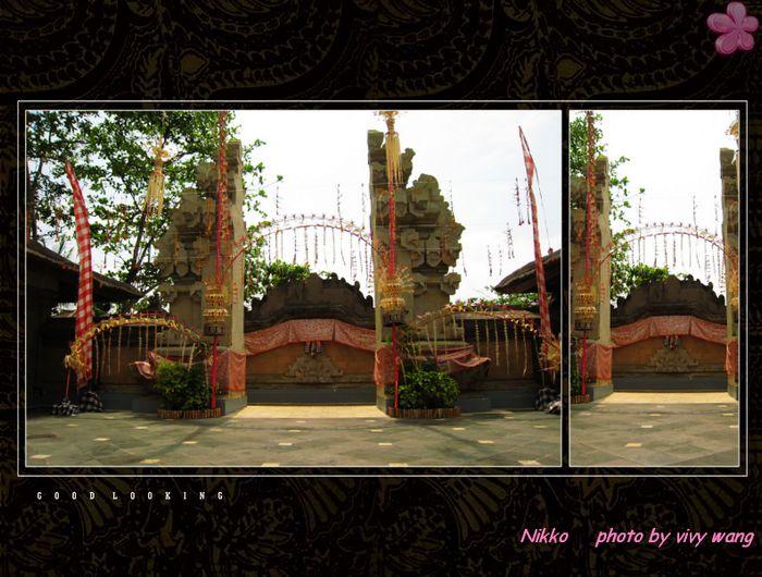 祭祀的小会场的门,巴厘岛特色的.