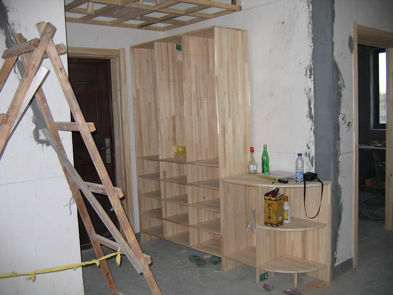 水泥橱柜,实木楼梯
