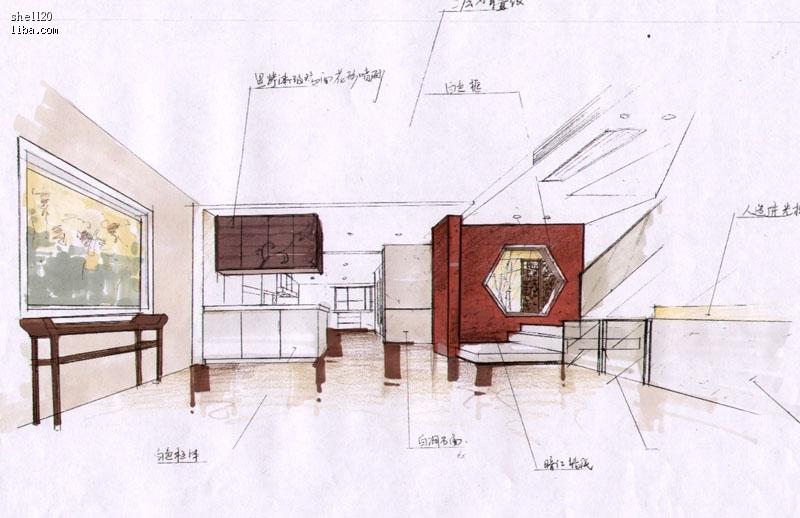 欧式桌椅透视图