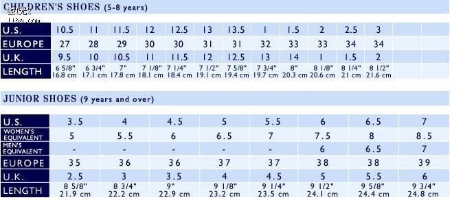 孩鞋子尺码对照表