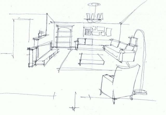 家庭臥室手繪圖