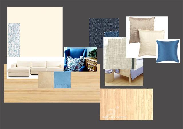 浅色地板的冷色调色彩方案板
