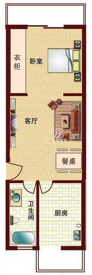 长方形一室一厅设计图