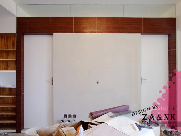 电视墙和两边门的一体化设计