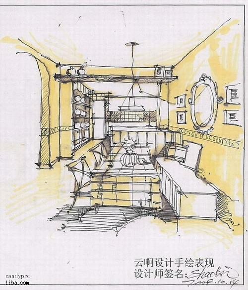 美式田园室内设计手绘图