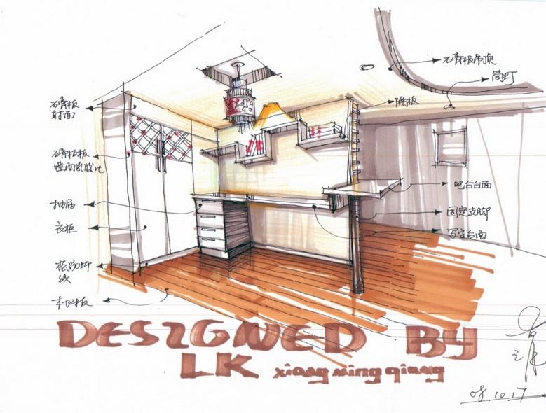 酒吧展示设计手绘图