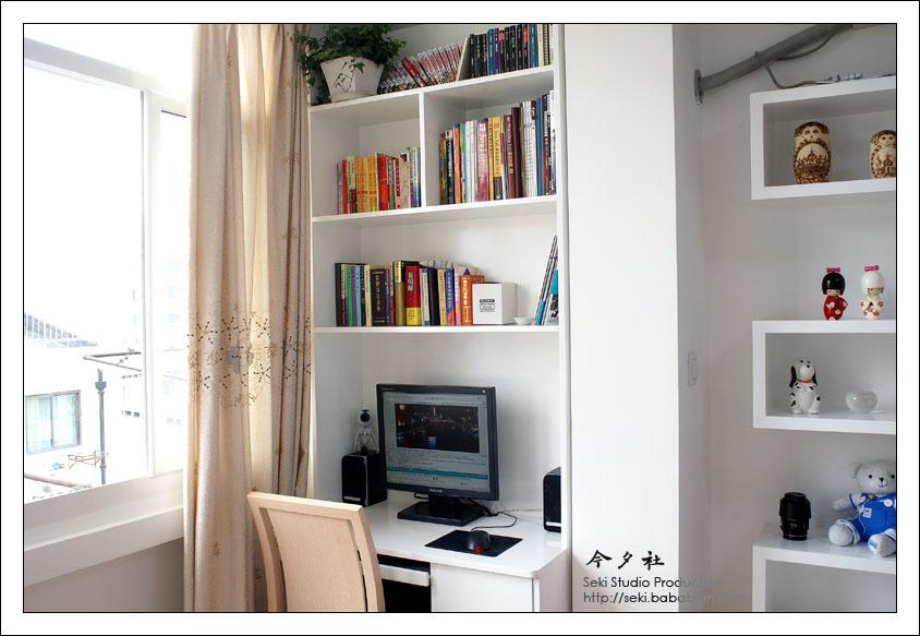 小阳台欧式装电脑书柜图