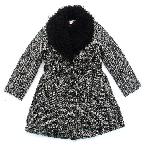 灰色毛领羊毛大衣100-160