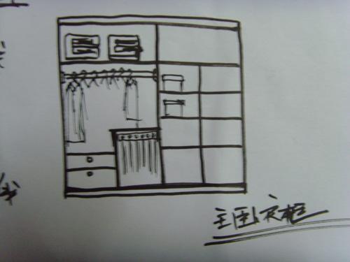 大衣柜的手绘结构图