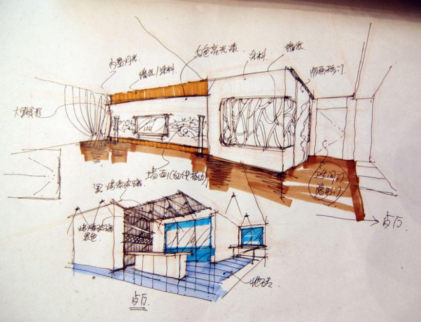 餐厅吧台设计手绘图