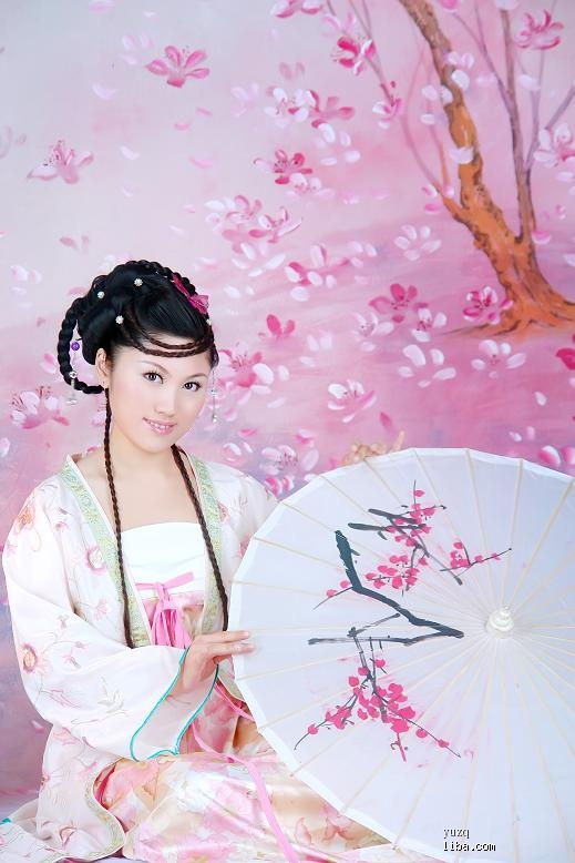 古装美女手绘粉色