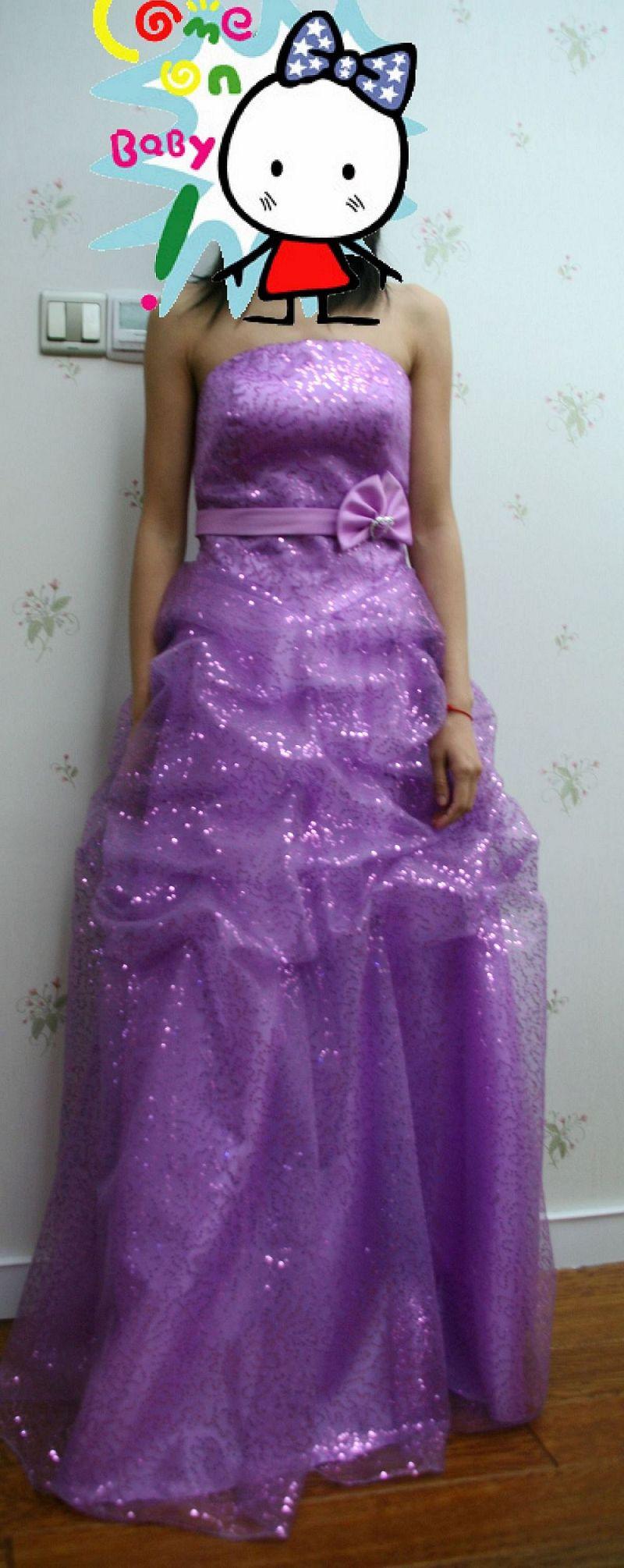 全新-----结婚礼服------超闪淡紫色亮片礼服~