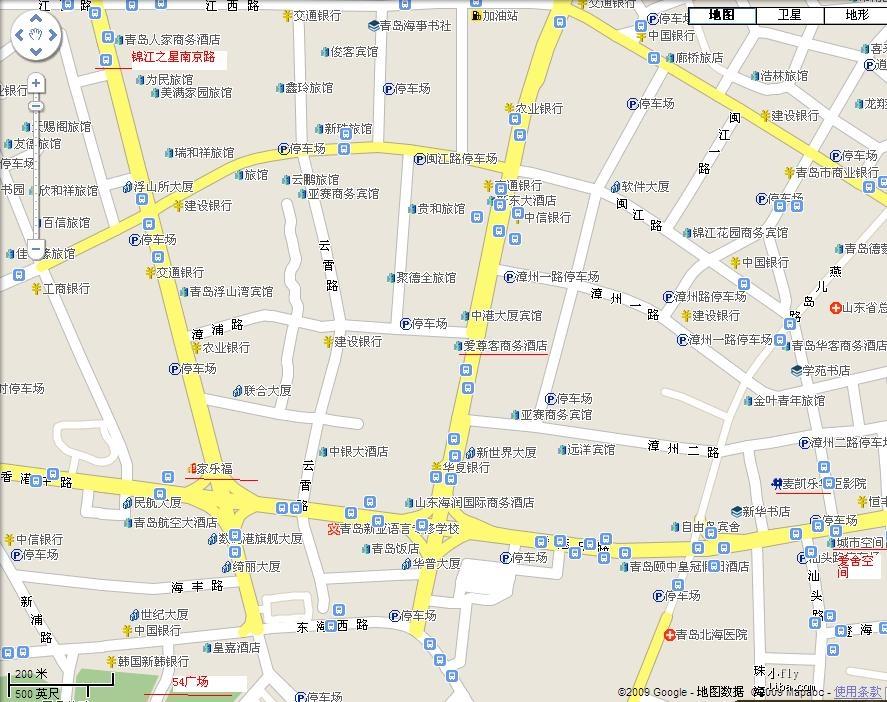 放张香港中路的地图,上面锦江之星
