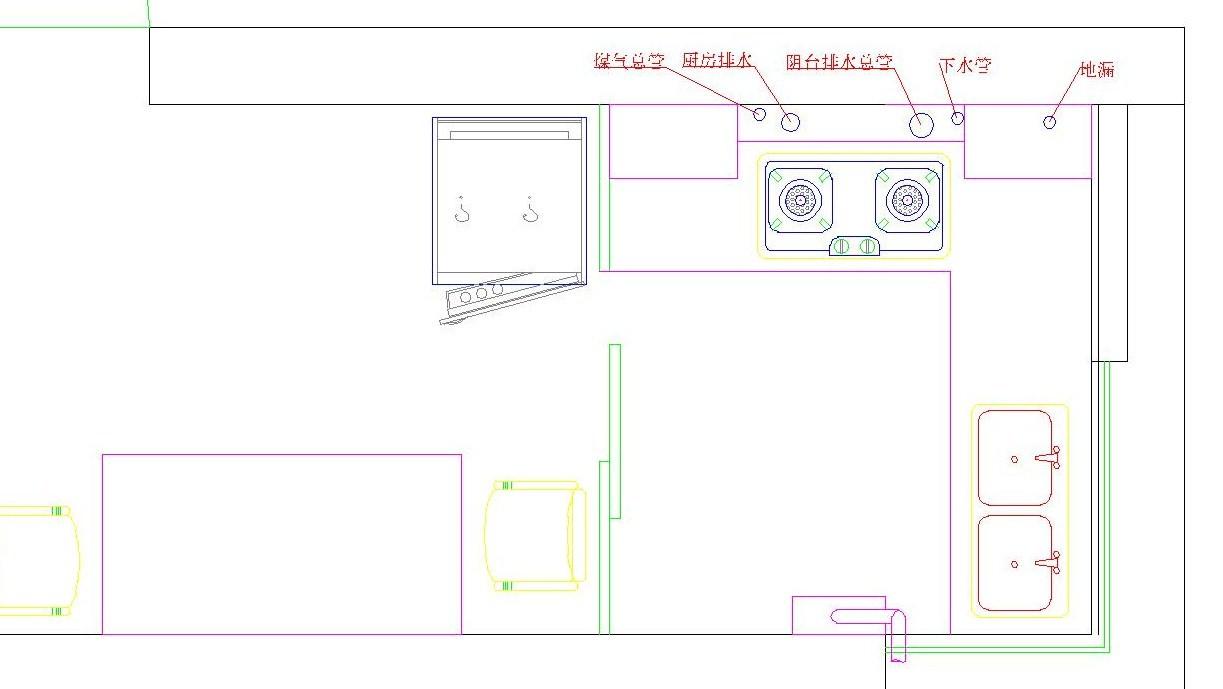 廚房的下水管道及煤氣管道靠近燃氣灶
