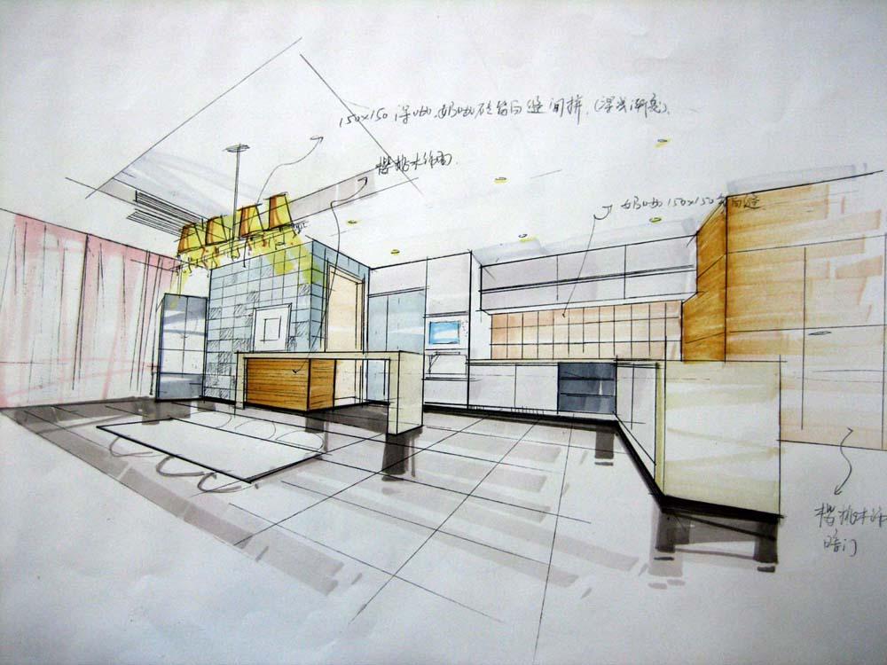 欧式厨房手绘图线稿