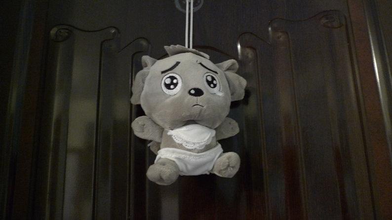 门上挂了个可爱委屈的狼宝宝