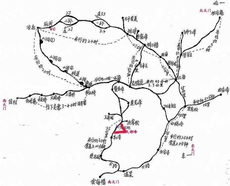 (黄山市火车站至黄山风景区汤口有一小时的路程)