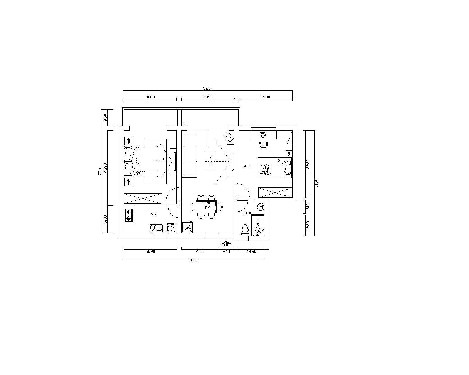 农村三间房二层楼设计平面图