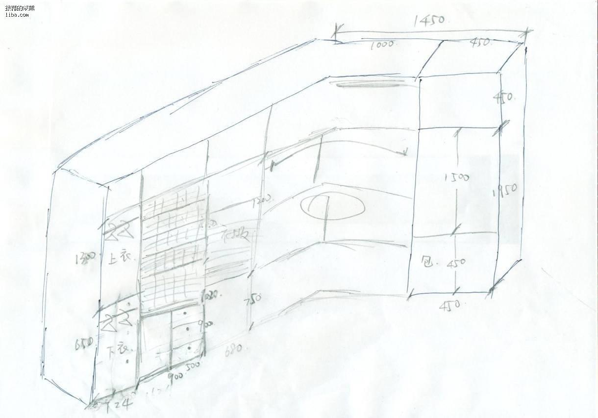 服装店平面立面手绘图
