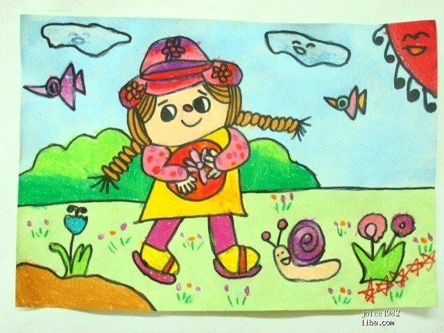 二年级庆元旦儿童画_小学生二年级儿童画