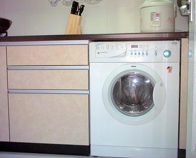 求助:洗衣机放在橱柜里