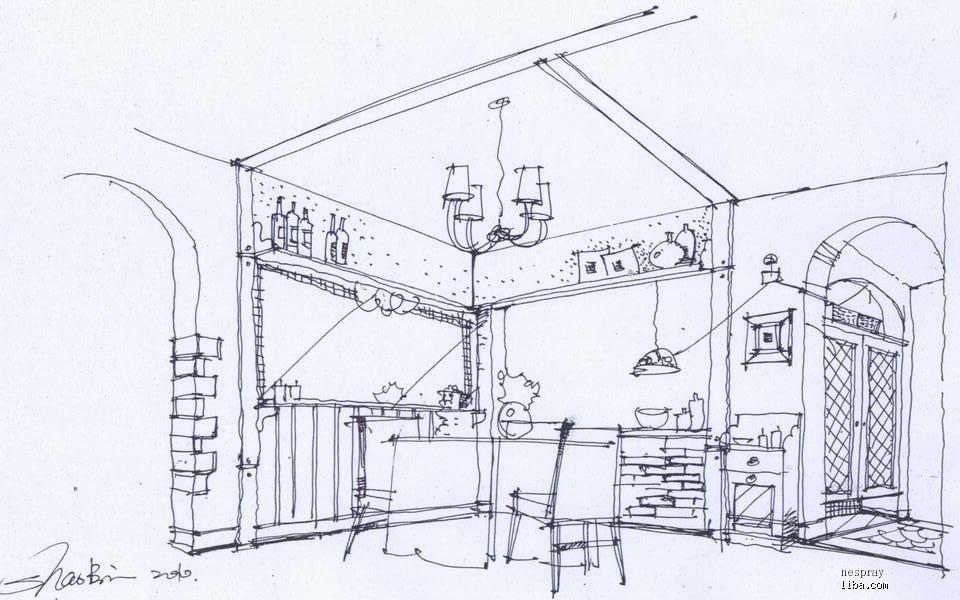 室内书房手绘立面图