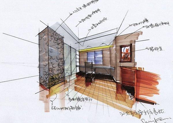 秦侃手绘图之书房