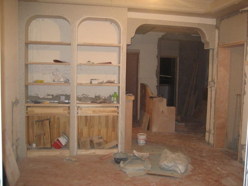 客厅门洞和书架造型