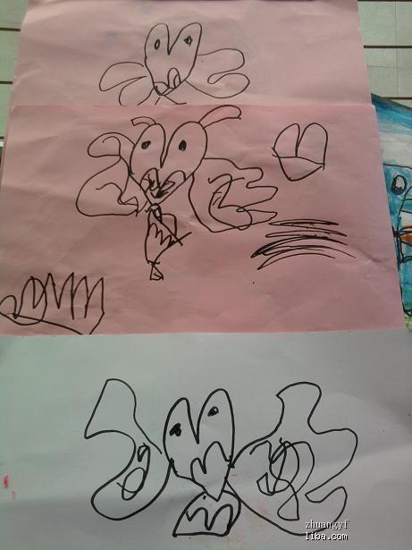 幼儿蜡笔荷花画法