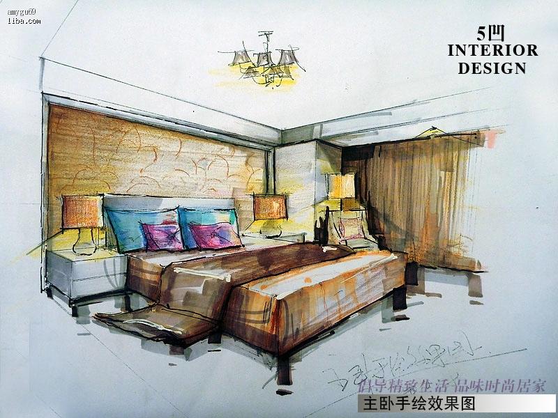 主卧室效果图手绘