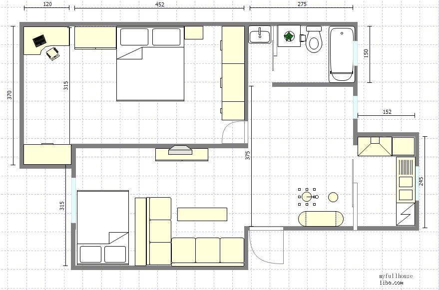 两室一厅的饰设计图展示图片