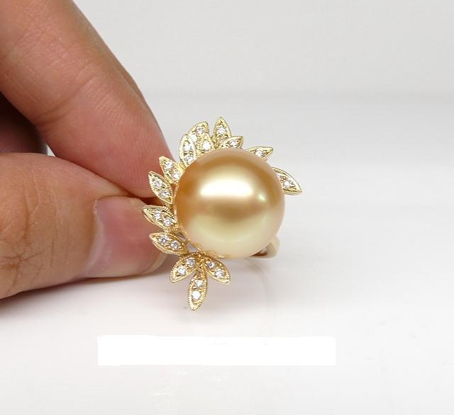 年送妈妈的南洋金珠戒指图片