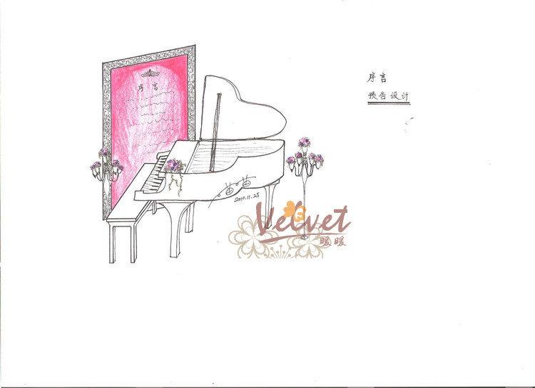 钢琴单体手绘图