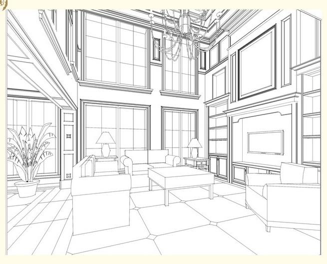 建筑简笔画分类很多,如中国传统建筑简笔画:宫殿图片