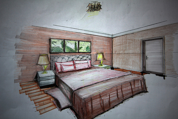 日系手绘卧室插画