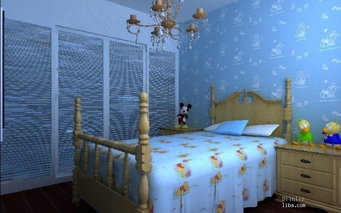 房间欧式壁纸淡蓝色