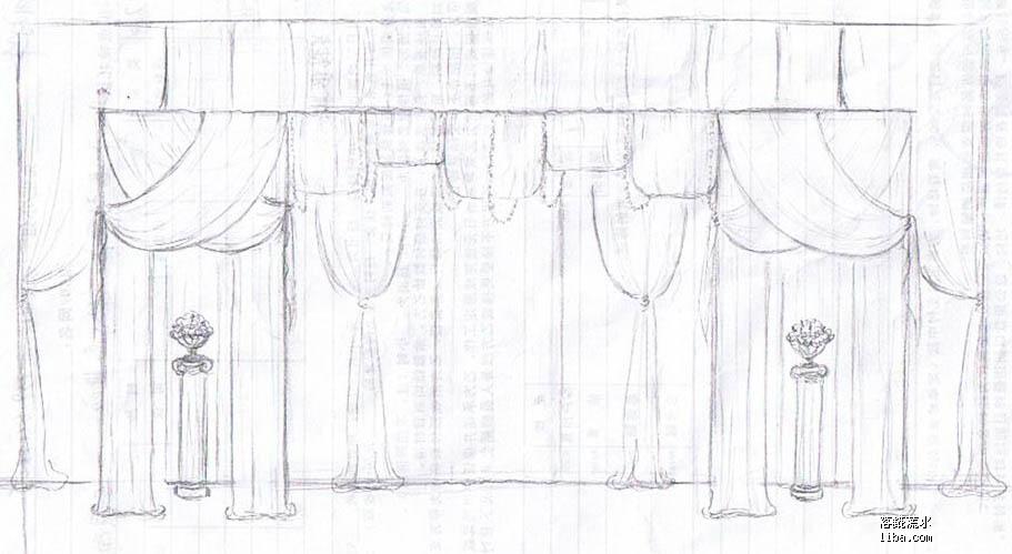 金色欧式婚礼手绘图