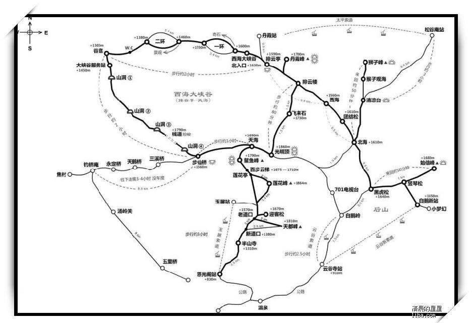 黄山手绘地图; 黄山二日游;;