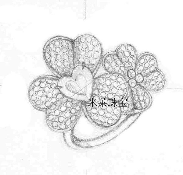 戒指设计图手稿素描 翡翠